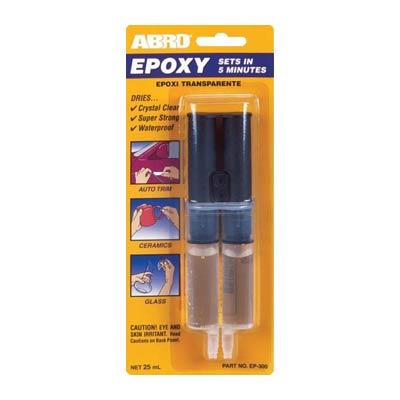 ABRO EP-300 epoksidiniai klijai (skaidrūs su švirkštu)